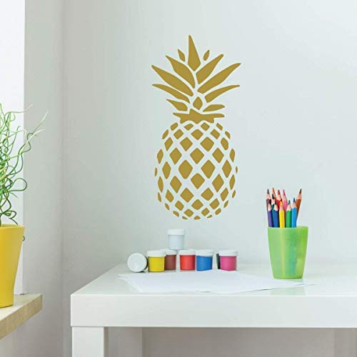 Pineapple Decor | Hawaiian Vinyl Wall Decal Design | Decoration for Bedroom, Kitchen, Living Room or Playroom | Metallic Gold, Silver, Yellow, Orange, Brown, Other Colors | Small, Large Sizes