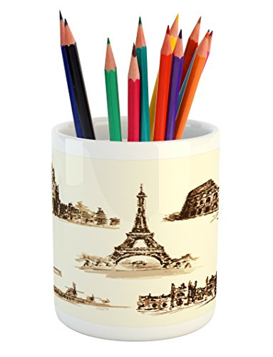 Ambesonne Ancient Pencil Pen Holder, European Landmark Traveller Tourist Cities Italy France Spain Sketchy Image, Printed Ceramic Pencil Pen Holder for Desk Office Accessory, Brown and Cream by Ambesonne