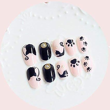 24 uñas postizas de Halloween, diseño de gatos de dibujos animados ...