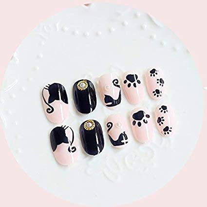 24 uñas postizas de Halloween, diseño de gatos de dibujos animados, ovaladas, largas