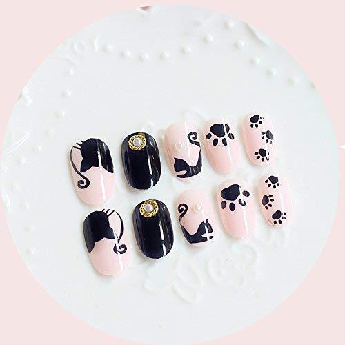 24 uñas postizas de Halloween, diseño de gatos de dibujos animados, ovaladas, largas, rosas, con pegamento, para regalar a niñas pequeñas: Amazon.es: ...