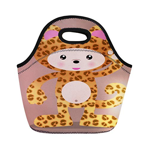 Semtomn Lunch Tote Bag Anime Cute Leopard Cheetah Manga Halloween Zoo Adorable Africa Reusable Neoprene Insulated Thermal Outdoor Picnic Lunchbox for Men -