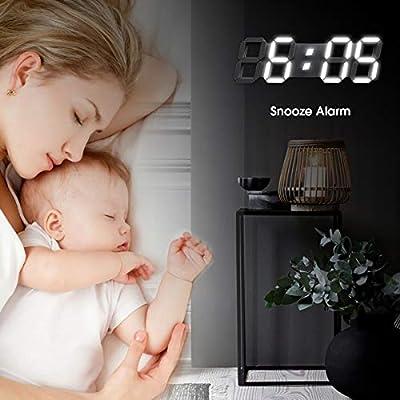 EDUP HOME Horloge Murale num/érique 3D LED 15 Pouces avec t/él/écommande Grande minuterie luminosit/é de la veilleuse r/églable pour Bureau Maison h/ôtel Grande Chambre