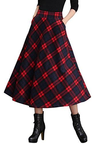 Gihuo Women's High Waist A-line Flared Long Skirt Winter Fall Warm Woollen Skirt (X-S, Red)