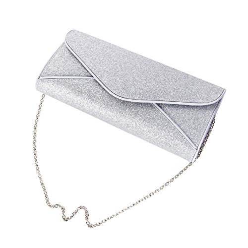 Envelope Glitter Premium Large Handbag Evening Flap Silver Clutch Metallic Bag Pwxpt