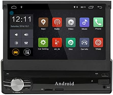 Single din Android Car Navigation 1G 16G 7inch Digital Screen GPS SWC Compatible OBD2 TPMS 1.2G Quad Core Build-in WiFi 7 Color LED Backlight with Remote Control and Microphone Manual SCL0131G