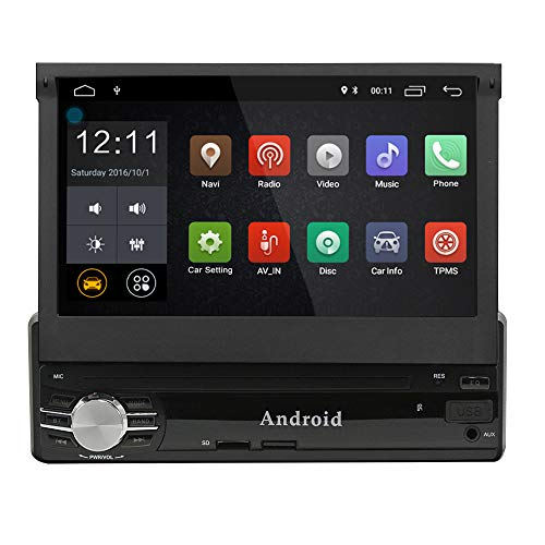 Single din Android Car Navigation 1G+16G 7inch Digital Screen GPS SWC Compatible OBD2 TPMS 1.2G Quad Core Build-in WiFi 7 Color LED Backlight with Remote Control and Microphone Manual GM-SCL0131G