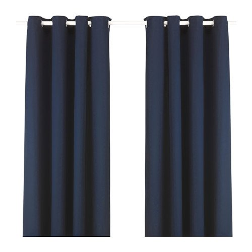 Ikea Merete Dark Blue Curtains Drapes 2 Panels Pair NEW Grommets