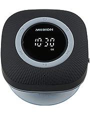 MEDION P66096 Duschradio mit Bluetooth (Badradio, UKW Radio, Saugnapf, LED-Display, IPX6 Wasserdicht, integrierter Akku) schwarz