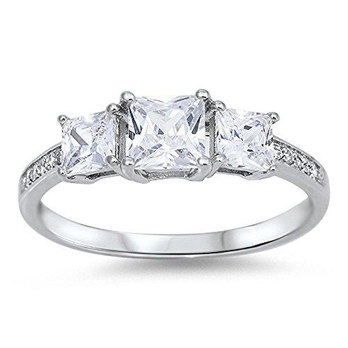 Blue Apple Co Three Stone Ring Wedding Engagement Ring Princess Cut