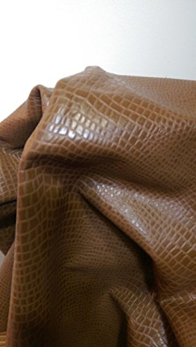 nat-leathers-brown-croco-embossed-8-x-10-cutting-upholstery-craft-cow-cowhide-genuine-leather-hide-s