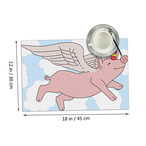 Carmen Belinda Flying Pig Placemats Set of 4 for Dining Table Washable Place Mats for Kitchen/Dinning Table, Home Table Decor Non-Slip Heat Resistant, 12x18 Inches ()