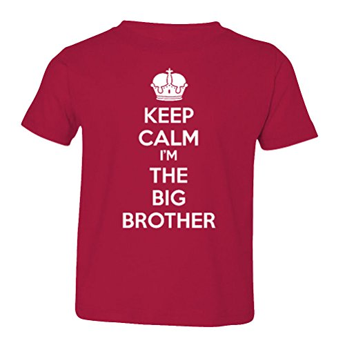 (So Relative! Keep Calm I'm The Big Brother Baby-Boys & Kids T-Shirt (Garnet, White Print, Youth Small (6-8))