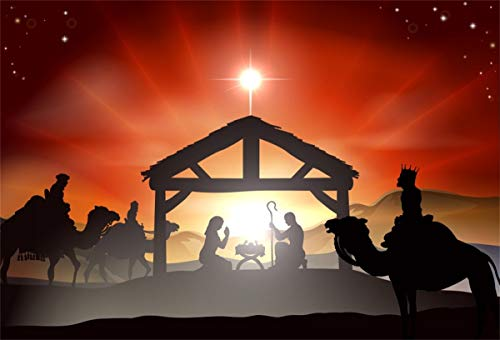 YEELE 6x4ft Nativity Christmas Scene Backdrop Baby Jesus in The Manger in Silhouette Photography Background Church Pictures Wedding Portrait Xmas Party Decor Photo Booth Props Ditigal Wallpaper (Wallpaper Christmas Manger)