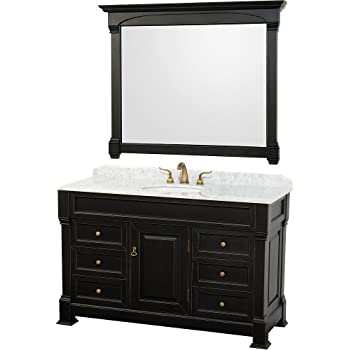 Incroyable Wyndham Collection Andover 55 Inch Single Bathroom Vanity In Antique Black  With White Carrera Marble Top