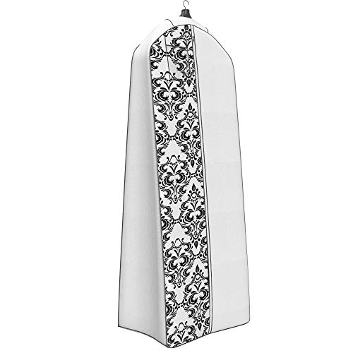 Womens Dress and Gown Garment Bag - 72x24 - 20 Tapered Gusset, Black and White Damask