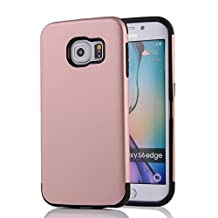 MOONCASE Galaxy S6 Edge Case - Tough Rugged Anti-scratch Dual Layer Hybrid TPU +PC Armor Protective Case Cover for Samsung Galaxy S6 Edge Rose Gold