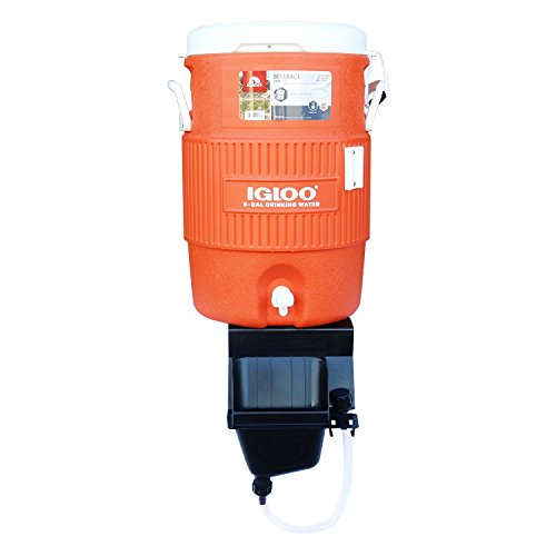 Igloo 5-Gallon Heavy-Duty Beverage Cooler, Orange & Ultimate Drip Catcher Set - Black - Catch All Your Drips, Seeps, Leaks Accidental Pours! by Igloo (Image #1)