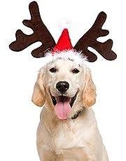 PEDOMUS Cat Dog Christmas Antlers Headband Reindeer Antler Headband for Dogs Cats Small Dog Reindeer Antlers Hat Dog Christmas Deer Costume