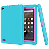 Myckuu Kindle Fire 7 2015 Case Shock Absorption High Impact Resistant Heavy Duty Armor Defender Case for Amazon Fire 7 (5th Generation - 2015 release) Blue-rose