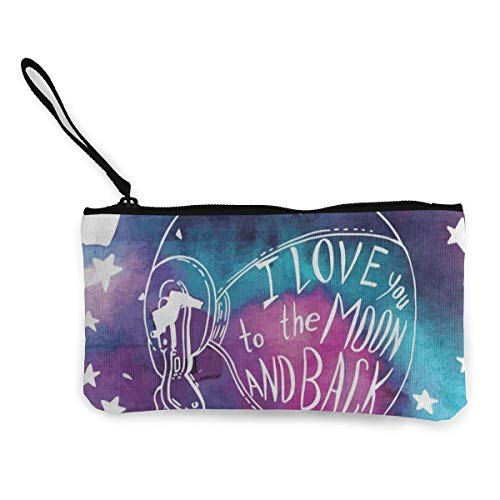 tronaut Star I Love You To The Moon And Back Customs Zipper Pouch Wallet For Cash Bank Car Passport ()