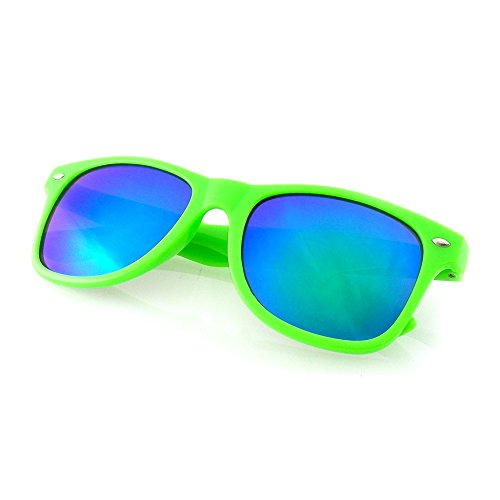 Neon Lens - Emblem Eyewear - Reflective Flash Color Mirror Reflective Lens Neon Sunglasses (Green)
