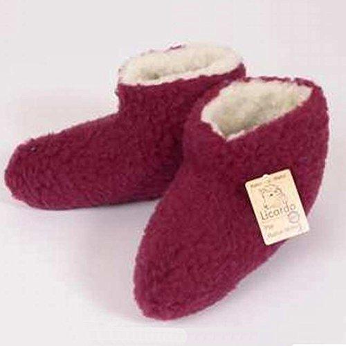 i laine bordeaux laine f couleur Bettschuhe 100 Bordeaux vierge IPqOqw