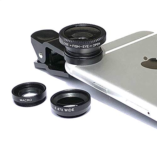 Lotus Lenses for iPhone Samsung Galaxy Google Pixel LG Stylo Cell Phone Camera Lens Kit 180°Fisheye 0.67X Wide Angle 10X Macro(Wide & Macro Attached in Package) Clip on Lens for All Smartphones
