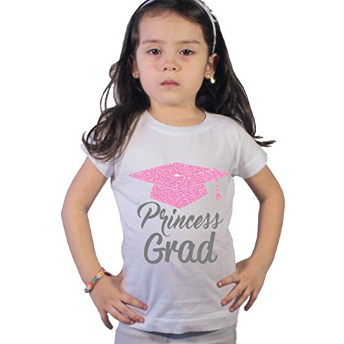 NanyCrafts Girl's Princess Grad Pink Glitter Pre-Kindergarten Graduation Shirt 7/8Y White ()