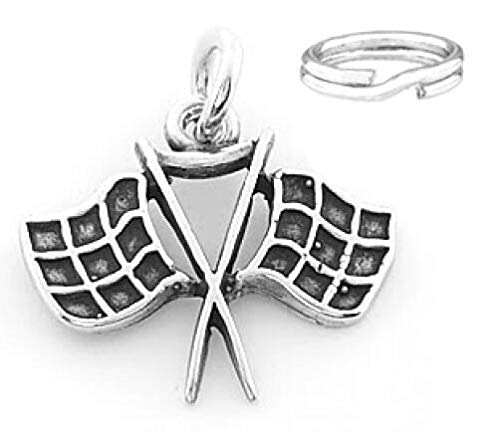 Silver Racing Checkered Flag Charm with Split Ring Charms,Pendant and Bracelet by Easy to be happy]()