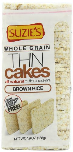 Suzie's Whole Grain Thin Cakes, Puffed Brown Rice Crackers, 4.9-Ounce Bags