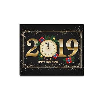 YSJXIM Arte de la Pared Pintura 2019 Año Nuevo Reloj Reloj Impresiones en Lienzo La Imagen Paisaje Paisaje Óleo para el hogar Decoración Moderna Imprimir ...