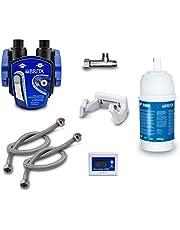 Ondertafel-waterfilter: BRITA filterkop, BRITA filter P1000, BRITA-filterwisselindicator, flexibele slang, hoekventiel-adapter