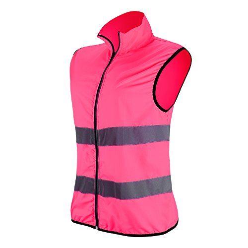 RFX+CARE Reflective Vests High Visibility Safety Vest Zipper Front with Reflective Strips for Running or Working, 3M Reflector, Pink (S/M) Athletic Windproof Vest