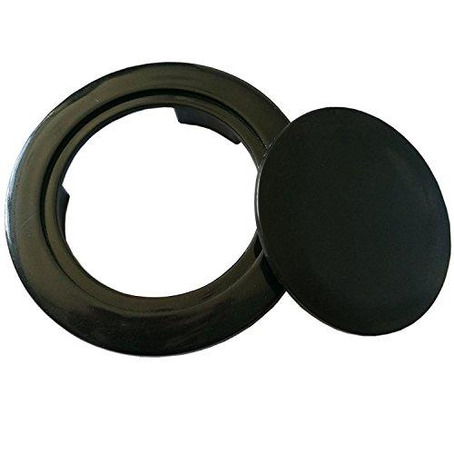 QIQIHOME Patio Parasol Umbrella Hole Ring Cap Plug Set, Coffee Plastic, 2-In. (Black)