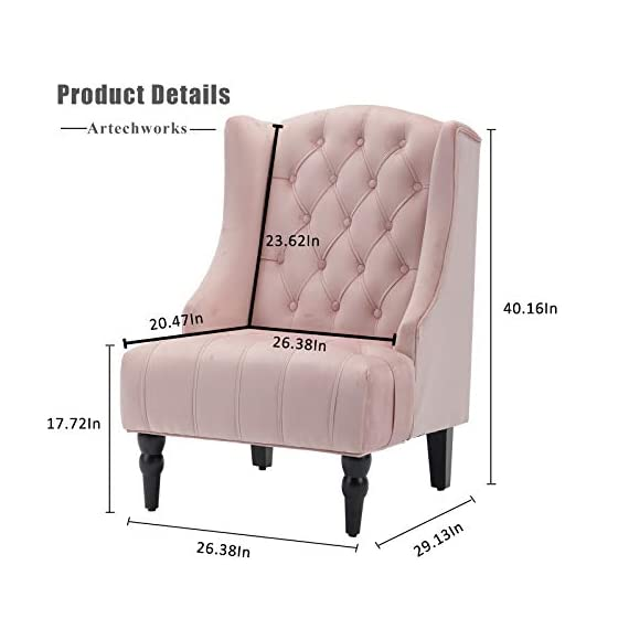 """Artechworks Velvet Tufted High Back Accent Chair for Living Room, Bedroom, Home Office, Hosting Room, Wingback Club Chair, Pink Color - CLASSIC STYLE: Crafted of solid and manufactured wood, and upholstered with a Velvet. The high wingback club design is a perfect addition for any room in your home. The tufting and curved sides add charm to the overall design. SIZE:Seat Width: 19.7""""; Seat Depth: 21.3""""; Seat Height: 18.9""""; Arm Height: 24"""". Overall Dimension: 31.1""""(L) x 31.1""""(W) x 38.2""""(H) LIVING ROOM & MORE: Our wingback chair is the perfect addition to any house or apartment. Use it in your TV room, office, dining room, or bedroom. - living-room-furniture, living-room, accent-chairs - 41aeRNWwEUL. SS570  -"""