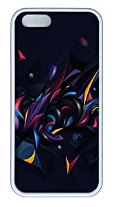3D Abstract Chaos Color TPU Silicone Rubber iPhone 5 and iPhone 5S Case Cover - White
