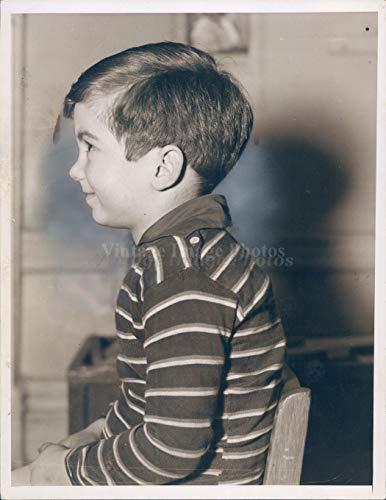 Little Boy Shirt Labels - 1937 Photo Child Little Boy Smiling Expression Striped Shirt Vintage Original