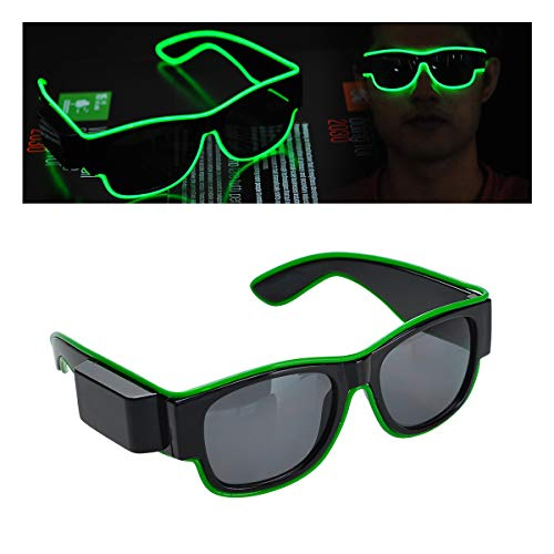 lychee USB Rechargeable Flashing EL LED Glasses EL Glasses Decoration for Discos, Bars, Parties, Raves, Costumes Festival Celebrations