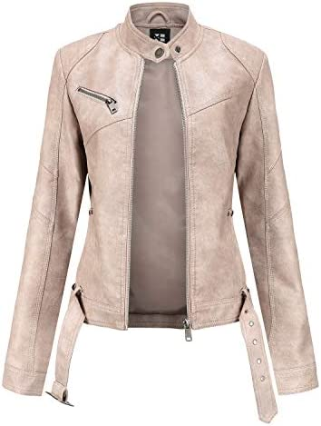 Tagoo Faux Leather Jacket Women Bomber Jacket Cropped Jacket Moto Coat for Biker with Belt