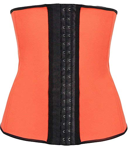 MOREMOO Latex Waist Trainer Steel Boned Corset Shapewear Waist Cincher(Orange US Size 6-8 (M))]()