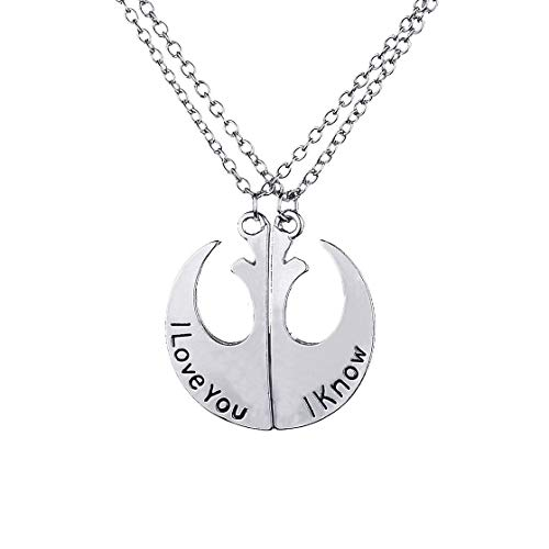 Bling Stars I Love You I Know Couples Necklace Set Initial Necklace ()
