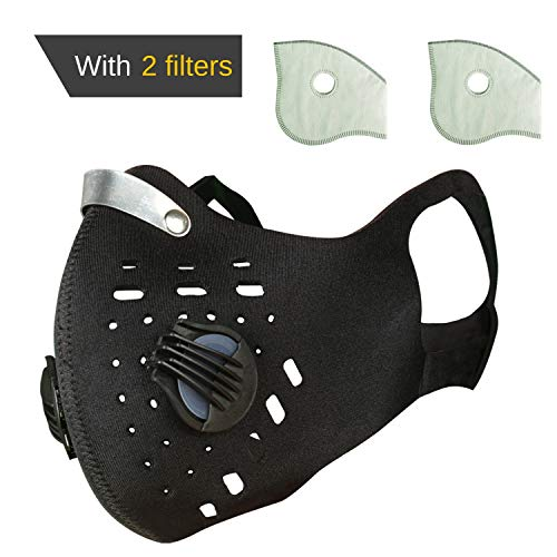 N99 Anti-Pollution Dust mask with 2 Filters and 2 Exhalation Valve. Reusable, Washable mask for Cycling, Running, Hunting, Painting, Allergies. for Men or Women. Ear Loop Design.Black Color