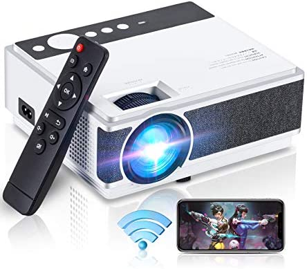 WiFi Projector 4500Lux ,Wireless/Wired Mirroring Connected ,Full HD 1080P Supported,2500:1 Contrast Ratio and 50000Hrs Portable LCD Home&Outdoor Projector for iOS/Android,Wevivi