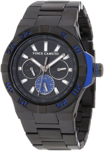 Vince Camuto Men's VC/1009BLBK The Master Blue Aluminum Accented Multi-Function Black Ion-Plated Watch