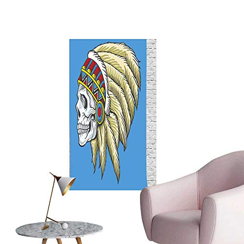 Blue Pearl Toronto (Wall Decals Dead Skull Feathers Tattoo Navajo Pattern Violet Blue Cream Pearl Environmental Protection Vinyl,28