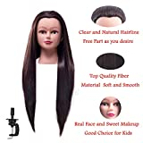 FABA Mannequin Head Synthetic Fiber Hair 26-28 inch Long Hair Styling Training Head Cosmetology Doll Head Hairdressing for Cutting Braiding Practice with Free Clamp (4#)