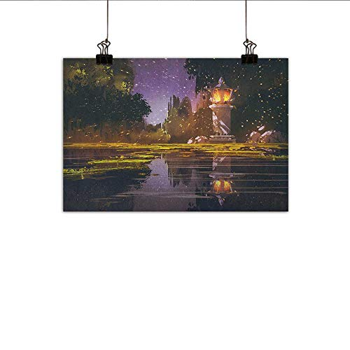homehot Landscape Art Oil Paintings Idyllic Scenery at Night with a Stone Lantern Fireflies and Forest Trees Swamp Canvas Prints for Home Decorations 47