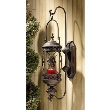 - French Accent Fleurs-De-Lis Hanging Pendant Lantern