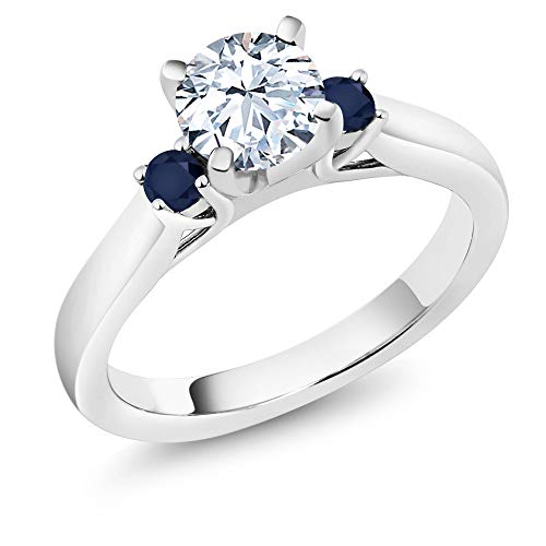 Gem Stone King 925 Sterling Silver White Created Sapphire and Blue Sapphire Women's 3-Stone Engagement Ring 1.46 Ctw (Size 7)